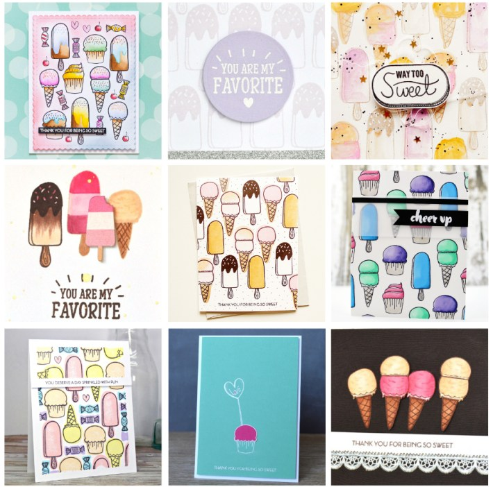 Icecream and cupcake cards sample ideas