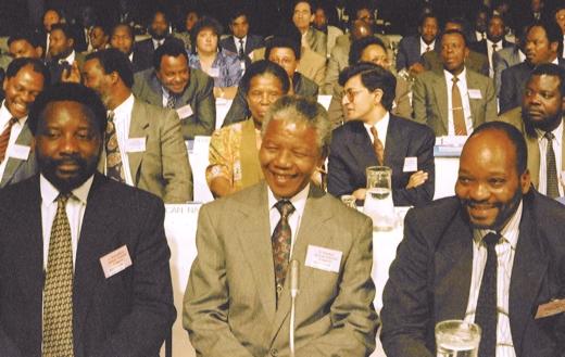 Cyril Ramaphosa, Nelson Mandela and Jacob Zuma during CODESA.
