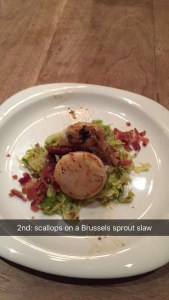 scallops on brussel  sprout slaw
