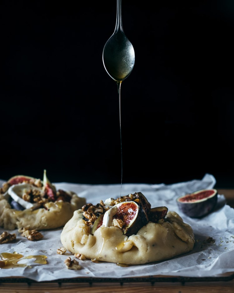 fig and goat cheese rustic galette with honey