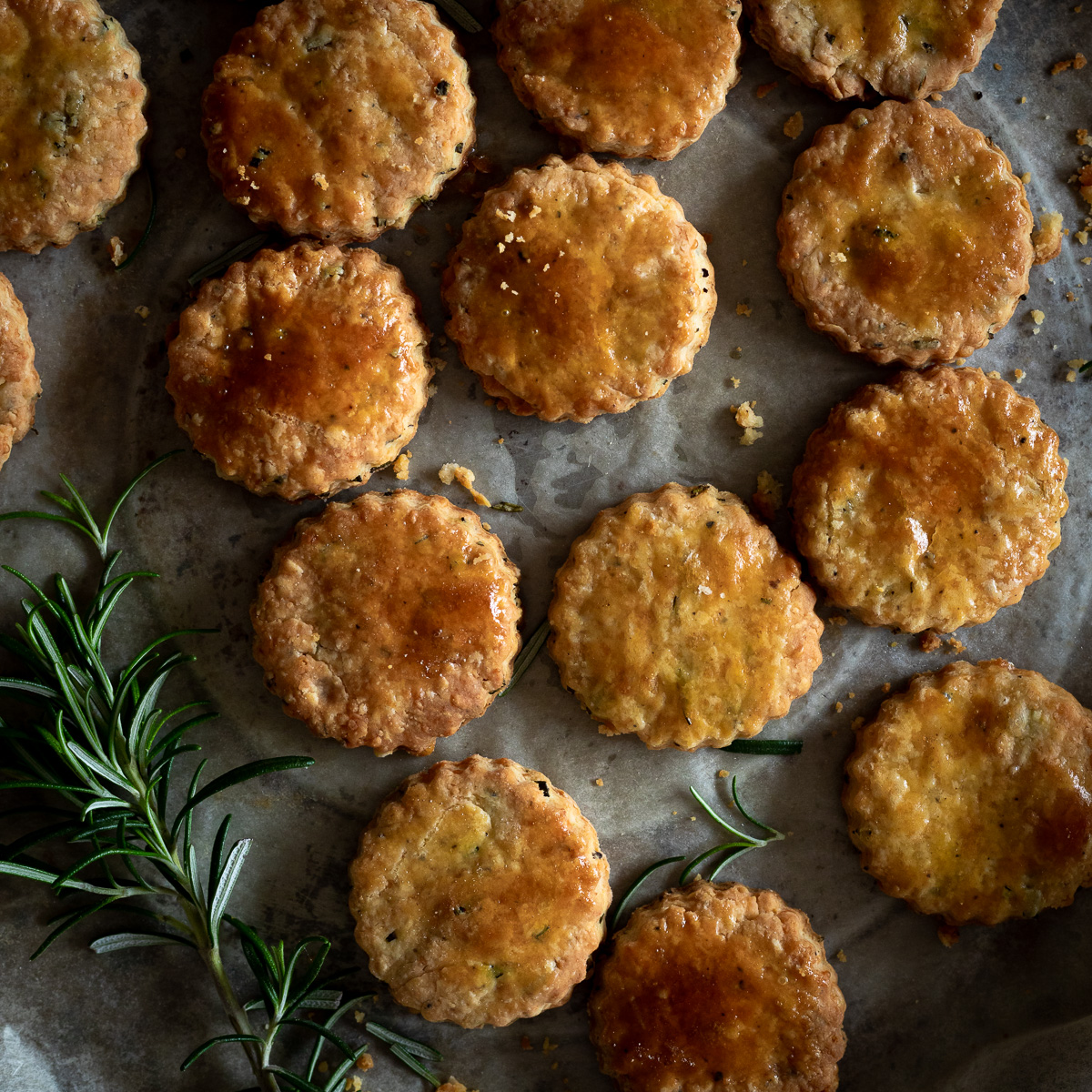 Parmesan and rosemary shortbread crackers