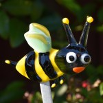 Fused glass yellow and black bee garden stake art
