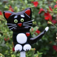 Fused glass black and white cat garden art