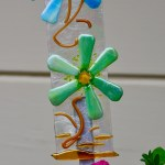 Fused glass flowers garden stake art