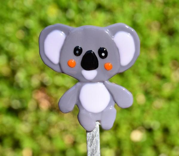 Fused glass koala bear garden stake art
