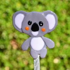 Fused glass koala bear garden stake art