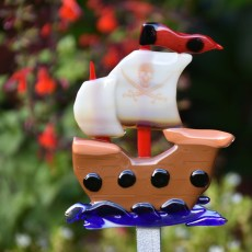 Fused glass scary pirate ship garden stake art