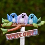 Fused glass welcome birds garden stake art
