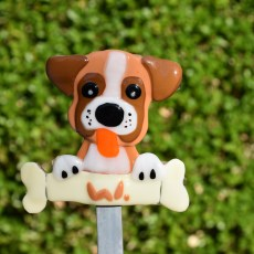 Fused glass boxer dog garden stake art
