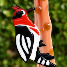 Fused glass red woodpecker garden art