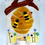 Fused Glass Beehive with Two Bees Nightlight