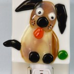 Fused Glass Doggie Staring at Ball Nightlight