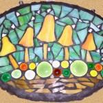 Mosaic orange mushroom plaque