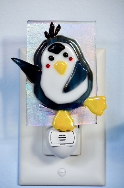 Fused glass penguin nightlight