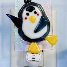 Fused glass penguin nightlight