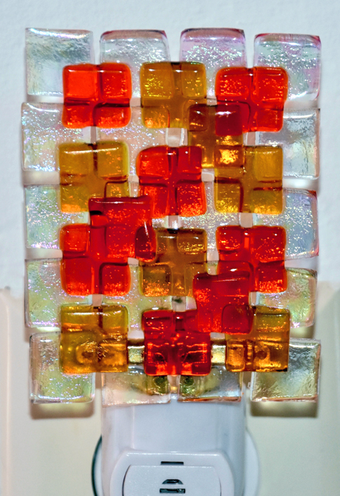 Modern Red and Yellow Geometric Square Fused Glass Nightlight