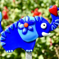 Fused glass elephant garden stake art