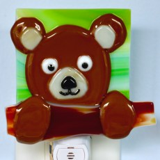 Fused Glass Brown Bear Nightlight