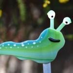 Fused glass green Caterpillar garden art