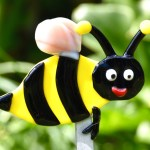 Fused Glass Yellow and Black Bee Plant Stake