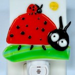 Fused Glass Ladybugs on Grass Night Light