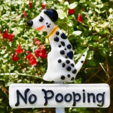 Fused Glass Dalmatian Dog No Poop Sign Plant Stake