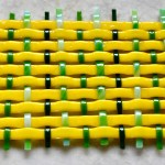 Fused Glass Yellow & Green Weave Trivet