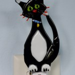 Fused Glass Black Cat Nightlight