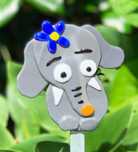 Fused Glass Elephant Grey