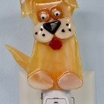 Fused Glass Golden Dog Nightlight