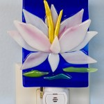 Fused Glass Pink Lotus Flower Nightlight