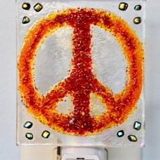 Fused Glass Red Peace Sign Nightlight