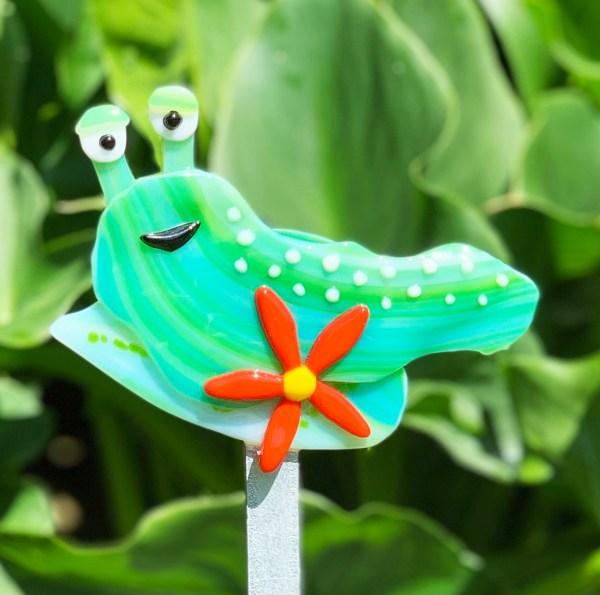 Fused Glass Slug Garden Stake