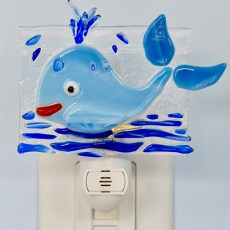 Fused Glass Blue Whale Night Light