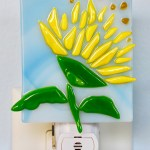 Fused Glass Yellow Flower Nightlight