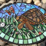 Turtle and butterfly mosaic