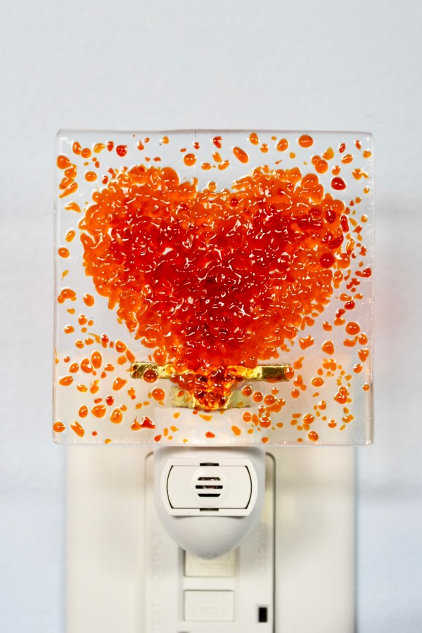 Heart Fused Glass Night Light