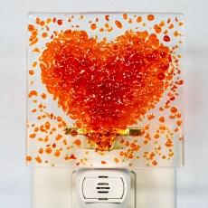 Heart Fused Glass Night Light