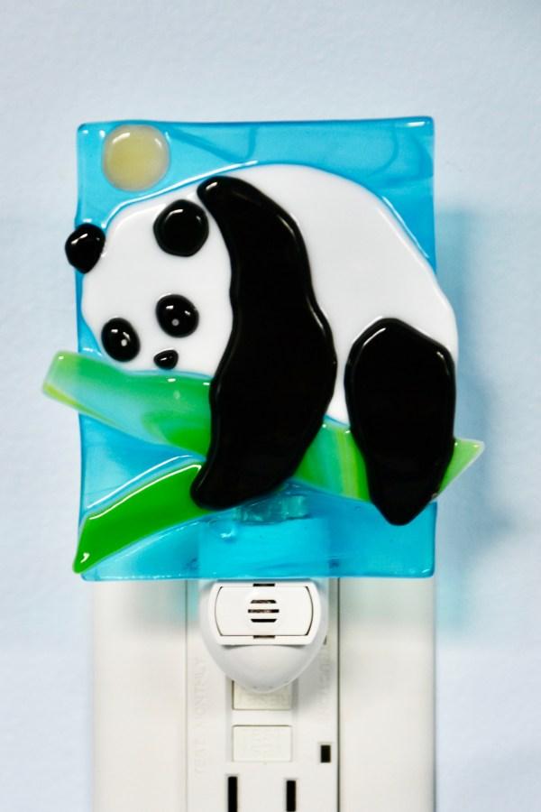 Fused glass Panda Night Light