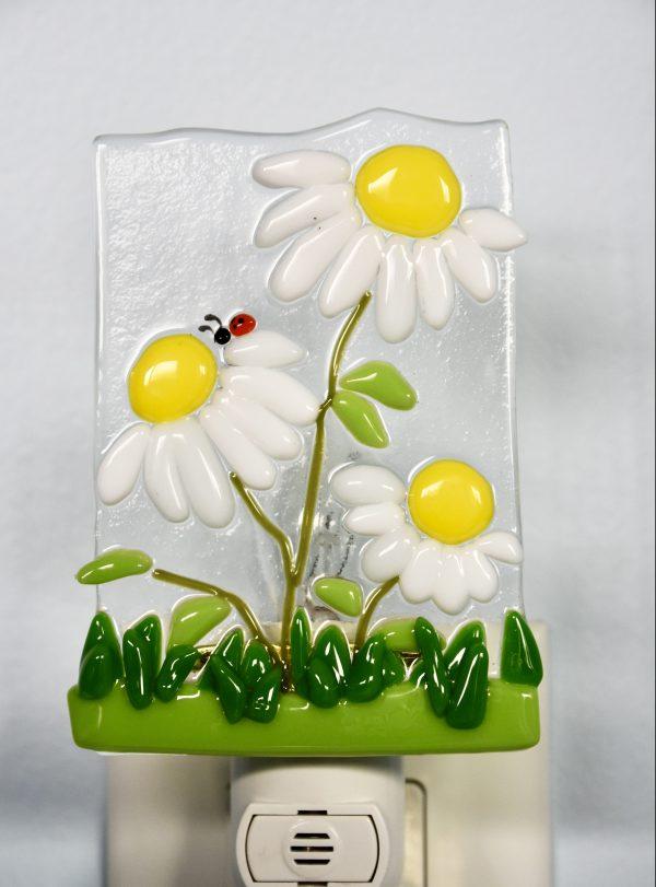 Daisies Fused Glass Night Light