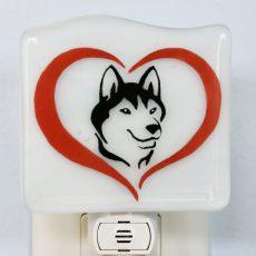 Husky in Heart Fused Glass Night Light