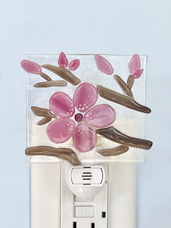 Cherry Blossom Fused Glass Night Light