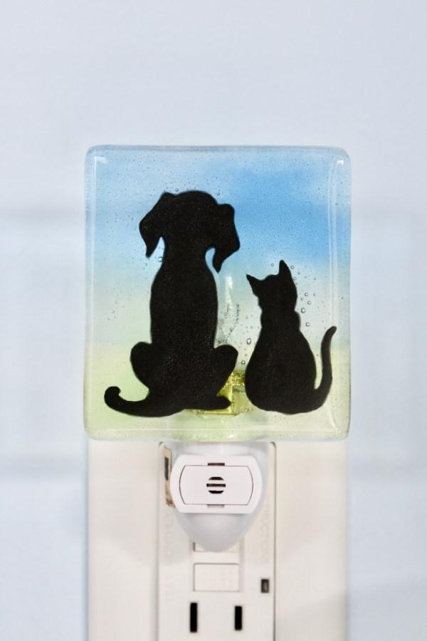 Dog Cat Fused Glass Night Light
