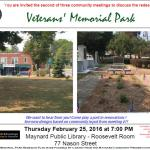 Veterans' Memorial Park Community Meeting 2 of 3 on February 25th