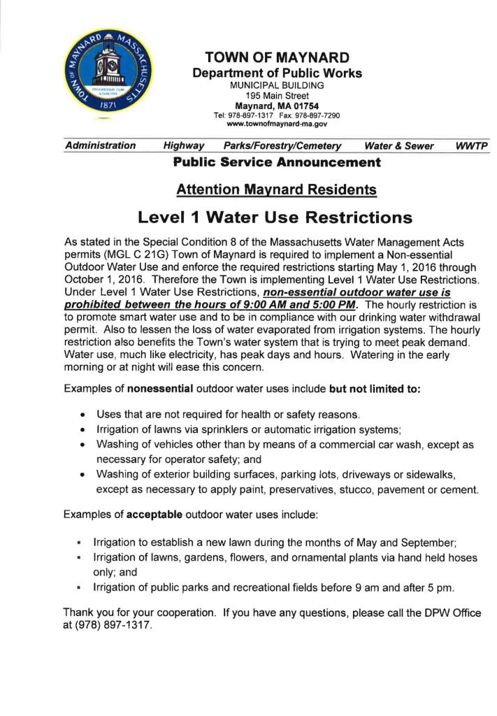 Water Restriction 2016