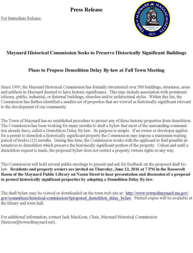Press Release - Demolition Delay By-law Plan