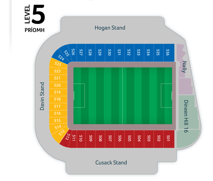 Croke Park seating plan Level 5.