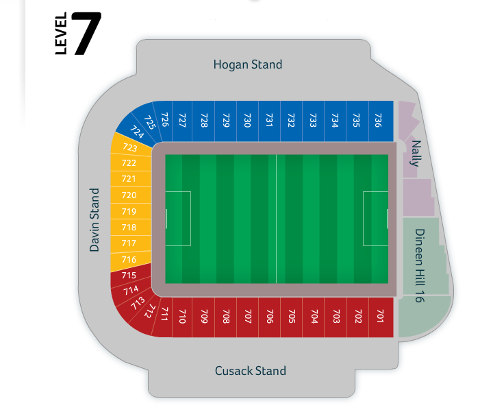 Croke Park seating plan Level 7.