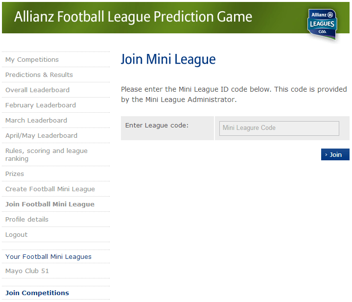 join Allianz mini league