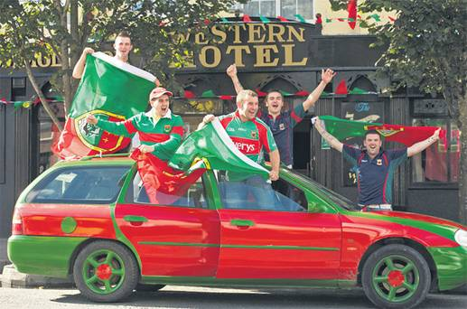 green and red Mayo car